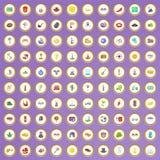 uppsättning för 100 runt om världen symboler i tecknad filmstil Arkivfoto