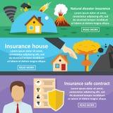 Uppsättning för säkert baner för försäkring horisontal, lägenhetstil stock illustrationer