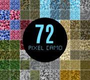 Uppsättning för sömlös modell för PIXELcamo stor royaltyfri illustrationer