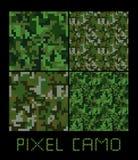 Uppsättning för sömlös modell för PIXELcamo stor Gräsplan skog, djungel som är stads-, bruntkamouflage Arkivfoto
