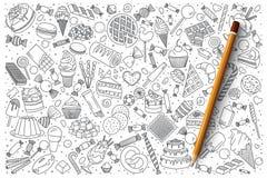 Uppsättning för sötsakklottervektor royaltyfri illustrationer