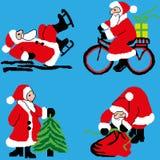 Uppsättning för ` s för nytt år av Santa Clauses i olika variationer, i skridskor, med en julgran, med en påse av gåvor, på en cy stock illustrationer