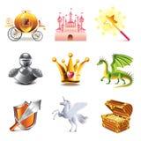 Uppsättning för sagasymbolsvektor stock illustrationer