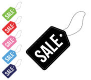 Uppsättning för Sale färgetiketter Royaltyfri Fotografi