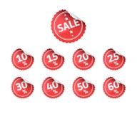 Uppsättning för Sale röd klistermärkenummer Royaltyfria Bilder