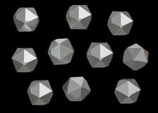 Uppsättning för samling för Crystal Stone ädelstenmakro mineralisk av 10 enheter, kvarts på svart bakgrund illustration 3d Royaltyfri Foto