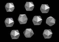 Uppsättning för samling för Crystal Stone ädelstenmakro mineralisk av 10 enheter, kvarts på svart bakgrund illustration 3d Arkivbilder