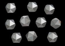 Uppsättning för samling för Crystal Stone ädelstenmakro mineralisk av 10 enheter, kvarts på svart bakgrund illustration 3d Arkivbild