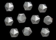 Uppsättning för samling för Crystal Stone ädelstenmakro mineralisk av 10 enheter, kvarts på svart bakgrund illustration 3d Royaltyfri Bild
