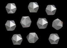 Uppsättning för samling för Crystal Stone ädelstenmakro mineralisk av 10 enheter, kvarts på svart bakgrund illustration 3d Arkivfoton