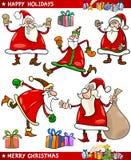 Uppsättning för Santa och jultematecknad film royaltyfri illustrationer