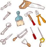 Uppsättning för serie för symbol för materielvektorhjälpmedel stock illustrationer