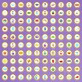 uppsättning för 100 shoppa symboler i tecknad filmstil Fotografering för Bildbyråer