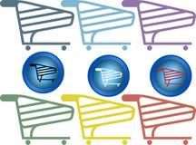Uppsättning för shoppingvagn Arkivfoton