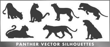 Uppsättning för silouettes för pantergruppvektor vektor illustrationer