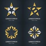 Uppsättning för silver- och guldstjärnalogo Symbol för utmärkelse 3d Metallisk logotyp Arkivbilder
