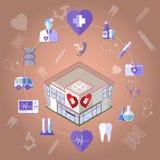 Uppsättning för sjukvårdInfographics symboler Arkivfoton