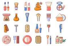 Uppsättning för skönhetbeståndsdelsymbol, tecknad filmstil royaltyfri illustrationer