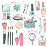 Uppsättning för skönhetsmedel för handdarwnvektor Skönhetsmedelhjälpmedel och produkter, per royaltyfri illustrationer