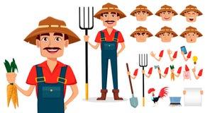 Uppsättning för skapelse för bondetecknad filmtecken stock illustrationer