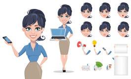 Uppsättning för skapelse för tecken för tecknad film för affärskvinna royaltyfri illustrationer