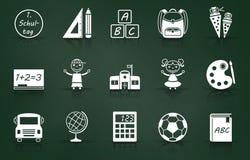 Uppsättning för skolainskrivningsymbol stock illustrationer