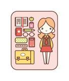 Uppsättning för skolautrustning Stock Illustrationer