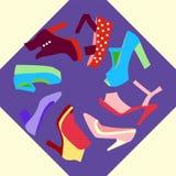 Uppsättning för skor för vårsommarkvinnor Arkivfoto