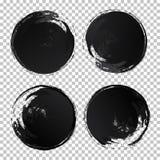 Uppsättning för slaglängder för borste för textur för cirkel för vattenfärg för vektorhandattraktion vektor illustrationer