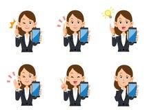 Uppsättning för smartphone för kontorsarbetare kvinnlig av uttryck och gester stock illustrationer