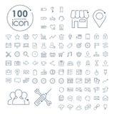 uppsättning för 100 social massmediasymboler Royaltyfri Fotografi