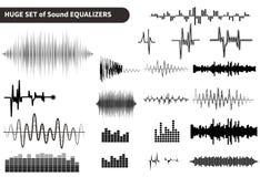Uppsättning för solida vågor för vektor Ljudsignal utjämnareteknologi, pulsmusikal också vektor för coreldrawillustration royaltyfri foto