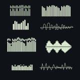 Uppsättning för solida vågor för vektor Musikbeståndsdelar Arkivfoton