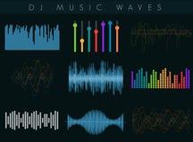 Uppsättning för solida vågor för vektordiscjockey Färgrik abstrakt futuristisk utjämnare stock illustrationer