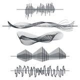 Uppsättning för solida vågor för utjämnare Ljudsignalsvartlinje vågor, pulsvektorillustration stock illustrationer