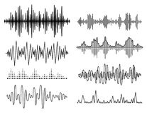 Uppsättning för solida vågor för vektor Ljudsignal spelare Ljudsignal utjämnareteknologi, pulsmusikal också vektor för coreldrawi Royaltyfri Fotografi