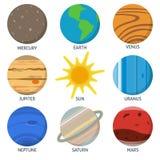 Uppsättning för solsystemplanetsymbol i plan stil Arkivbilder