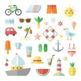 Uppsättning för sommar och för plan vektorfyrkant för strand stor Royaltyfria Bilder