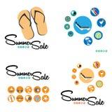 Uppsättning för sommarförsäljningsbakgrund Arkivfoton