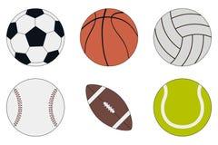 Uppsättning för sportbollsymbol - fotboll, basket, volleyboll, baseball, amerikansk fotboll och tennis vektor Arkivbild