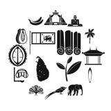 Uppsättning för Sri Lanka loppsymboler, enkel stil royaltyfri illustrationer