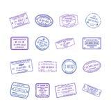 Uppsättning för stämplar för visum för internationellt lopp för vektor stock illustrationer