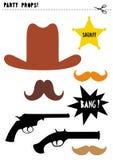 Uppsättning för stöttor för vektor för vilda västernfotobås DIY Cowboyparti stock illustrationer