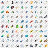 uppsättning för 100 strömförsörjningssymboler, isometrisk stil 3d Fotografering för Bildbyråer