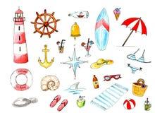 Uppsättning för strand för vattenfärgsommarhav Roliga designbeståndsdelar för sommar stock illustrationer