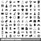 uppsättning för 100 strategisymboler, enkel stil Arkivbild