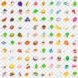 uppsättning för 100 strikt vegetariansymboler, isometrisk stil 3d Arkivbild