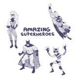 Uppsättning för Superheros vektorteckningar vektor illustrationer