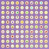 uppsättning för 100 supermarketsymboler i tecknad filmstil Royaltyfria Bilder
