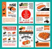 Uppsättning för sushimenymall för japansk matdesign royaltyfri illustrationer